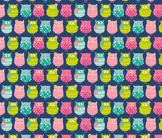 Hoot Hoots fabric by ahmarie