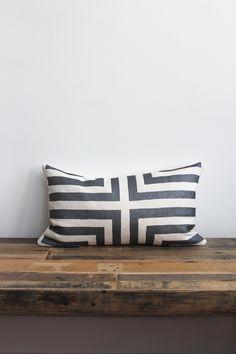 Doha metallic gunmetal & off-white hand printed organic hemp pillow cover 12x21.