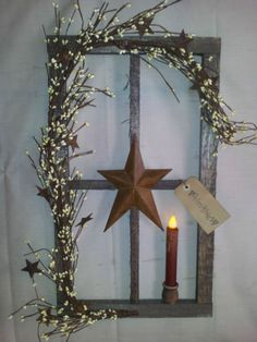 primitive decor~ stained window pane display ~ country ~ americana