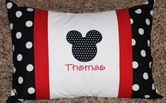 Girls or boys personalized Minnie or mickey Mouse pillowcase  Disney travel pillow case autograph pillow. $24.00, via Etsy. or DIY #Disney #Mickey