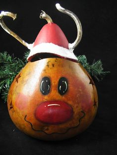 Rudolph Holiday Reindeer Gourd with removable by KaoriKreations,
