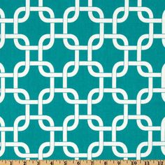 bench cover?? True Turquoise and White Chainlink- Fabric by the Yard