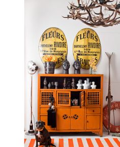 Vintage cool .. Retail shop Fenton & Fenton add some antlers to the tables...