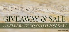 GIVEAWAY & SALE - Constitution Day!   In honor of our greatest founding document, the HSLDA Blog is hosting a giveaway (September 16-21) of Constitution-themed items! AND there is also a fantastic sale over at the HSLDA Store starting tomorrow, which will give you 40% off all Constitution items (September 17-18)!   HSLDA Blog