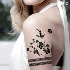 Waterproof tattoo stickers / bird black and white arm legs chest against female Figure GF494 50pcs/lot free shipping