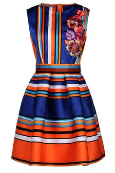 Blue Yellow Sleeveless Striped Floral Dress - Sheinside.com