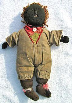folk art black doll antique