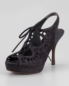 Quon Ghilly Lace-Up Suede Sandal, Black by Vera Wang Lavender at Neiman Marcus.