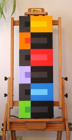 I like the color block idea...could turn it into a crochet project.