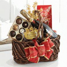 Wine and chocolate gift basket