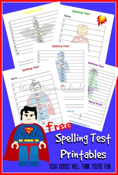 FREE Lego Spelling Test Printables! - http://www.blessedbeyondadoubt.com/free-lego-spelling-test-printables/