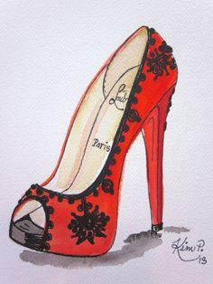 Fashion illustration:    louboutin inspired shoe sketch red peep toe original pen and watercolor via Etsy