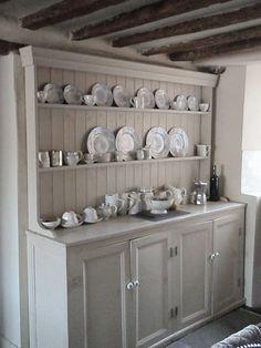 Farmhouse kitchen #farmhouse #kitchen #dresser #hutch #blue #cottage #English #French #china #neutral #cream #decor #white #brass #wood #shabby #flea