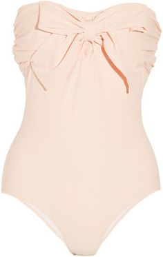 Miu Miu Bow-embellished bandeau swimsuit    #wrapmeupthepinkfrock