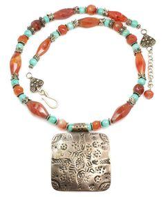 Vintage Ethnic Bedouin Necklace - Carnelian & Turquoise. $457.00, via Etsy.