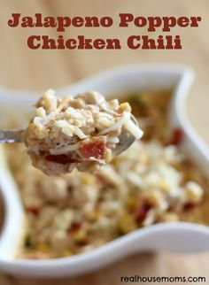 Jalapeno Popper Chicken Chili ~ http://www.realhousemoms.com/jalapeno-popper-chicken-chili/
