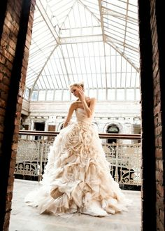 ruffled pink wedding dress