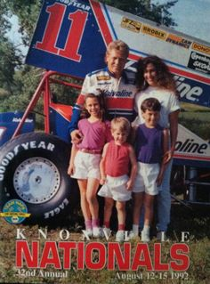 Steve Kinser and family, 1992 Knoxville Nationals program cover