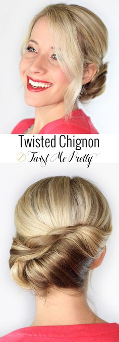 An upstyle that looks great with a tee-shirt and jeans or a formal gown. Styled in under 10 minutes, this is a hairstyle you must have in your toolbox! | Twist Me Pretty