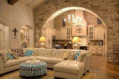 Stone arch into kitchen