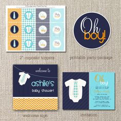 Oh Boy printables baby shower theme