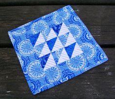 Blue Mug Rug Snack Mat Coaster Handmade Quilted by atthebrightspot