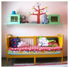 colorful play space - i love the yellow daybed