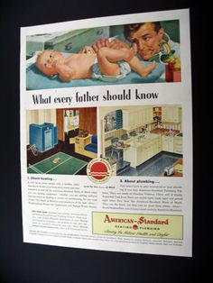 American Standard Father Changing Diaper 1947 Print Ad | eBay