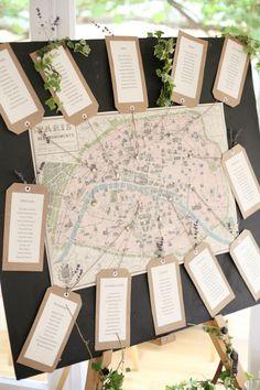 Map Of Paris Table Plan - Dasha Caffrey Photography | Bridal Musings   See more from this wedding: http://bridalmusings.com/2013/09/elegant-english-countryside-wedding-dasha-caffrey-photography/ table settings, table plans, table names, pari, plan de tables, world maps, map table plan, seating plans, wedding seating