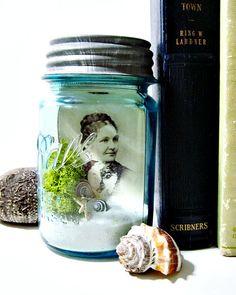 Photo Display in a Mason Jar Terrarium: Moss, Seashells, and Lichens - Antique Ball Atlas Blue Glass Jar with Zinc Lid & Beach Scene