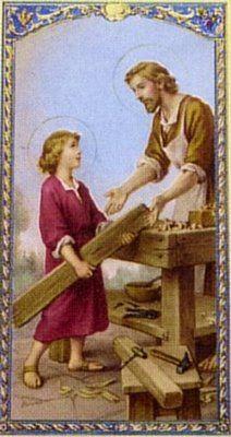 St. Joseph the Worker bookmark, holi famili, st. joseph and jesus, jesus christ, religi art, holi pictur