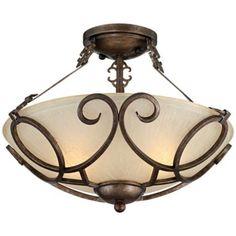 "Iron Art Bronze 16"" Wide Semi-Flush Ceiling Light"