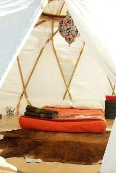 Bed on floor in a yurt