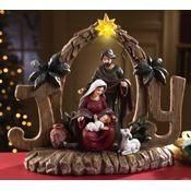 Lighted Joy Nativity Sculpted Tabletop Decoration