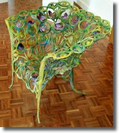 Old chair, painted & embellished (cast-iron)  Garden Art From Recycled Materials | RECYCLED ART JUNK ART WASTE ART - METAL SCULPTURES SCRAP STEEL GARDEN ... Metals Sculpture, Chairs, Junk Art, Horseshoes, Gardens Art, Gardens Junk, Recycled Art, Gardens Statues, Recycle Art