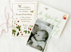 Strawberry Storybook Baby Announcements | Cynthia Warren, Maybelle Imasa-Stukuls