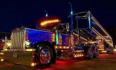 Awesome Pete with dump trailer and loads of chicken lights #ReferATruck America's Load Board