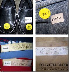 garage sale label ideas