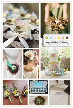 Love this inspiration board! #Bird #Theme weddings are perfect for a natural or rustic setting. See more at this Pinterest Board.