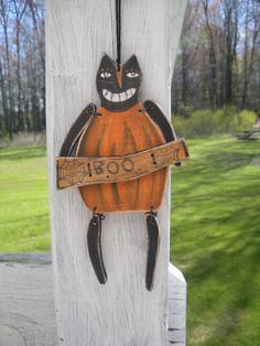 Halloween Primitive Wood Cat Dressed as Pumpkin by TheWoodenDoor, $25.00