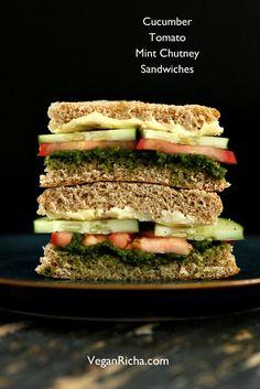 Cucumber, Tomato, Mint Cilantro Chutney Snack Sandwiches #BarnDad #Motivation #Exercise #HealthyLiving #Motivation