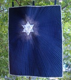 """""""TWINKLE TWINKLE""""  Reversible Wall Hanging.  Trapunto, Machine Applique, Free Motion Quilting.  22""""x 28""""             Stop by the JEWISH COMMUNITY CENTER OF NORTHEN VIRGINIA (8900 Little River Turnpike, Fairfax, VA 22031) and take a look at this piece now exhibited in the Bodzin Gallery, with some other QUILTS BY MARISELA art quilts.    http://www.jccnv.org/     Fine Arts Summer Spotlight exhibition in the Bodzin Gallery,   June 19th to August 21st, 2012."""