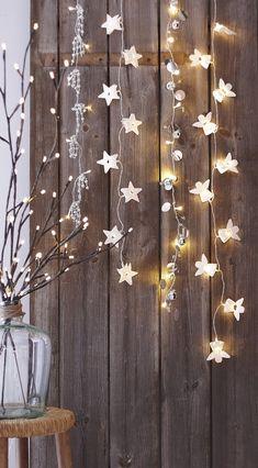 hanging lights, strands, christmas decorations, christmas lights, white christmas, string lights, fairi, rustic christmas, christmas stars