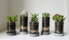 Gonna make this for baby shower prizes. Mason Jar Planters with drainage set of 5 UpCycled by BootsNGus. $28.00, via Etsy.
