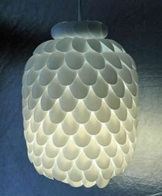 Home-Dzine - Pendant shade with plastic spoons