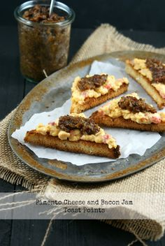 Pimento Cheese and Bacon Jam Toast Points - http://www.diypinterest.com/pimento-cheese-and-bacon-jam-toast-points/