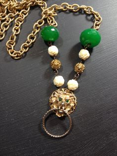 Gold green cream assemblage lion necklace Lions Den by blossomshop, $72.00