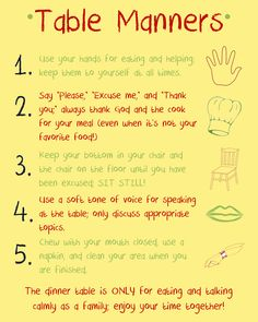 Table Manners Reminders
