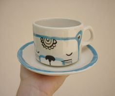Hand painted ceramic plate and cup by Miriam Brugmann