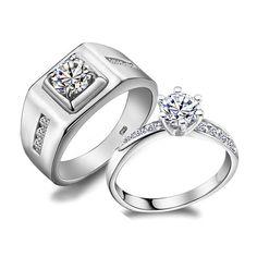 Custom Name Diamond Wedding Class Ring Sets for Two
